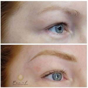 Eyebrow feathering before and after photo